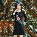 As mulheres Se Vestem de Outono Primavera Étnico Elegante Trabalho Business Casual Lápis Bainha Bordado Básico vestido de Algodão Mini Vestidos De Grife