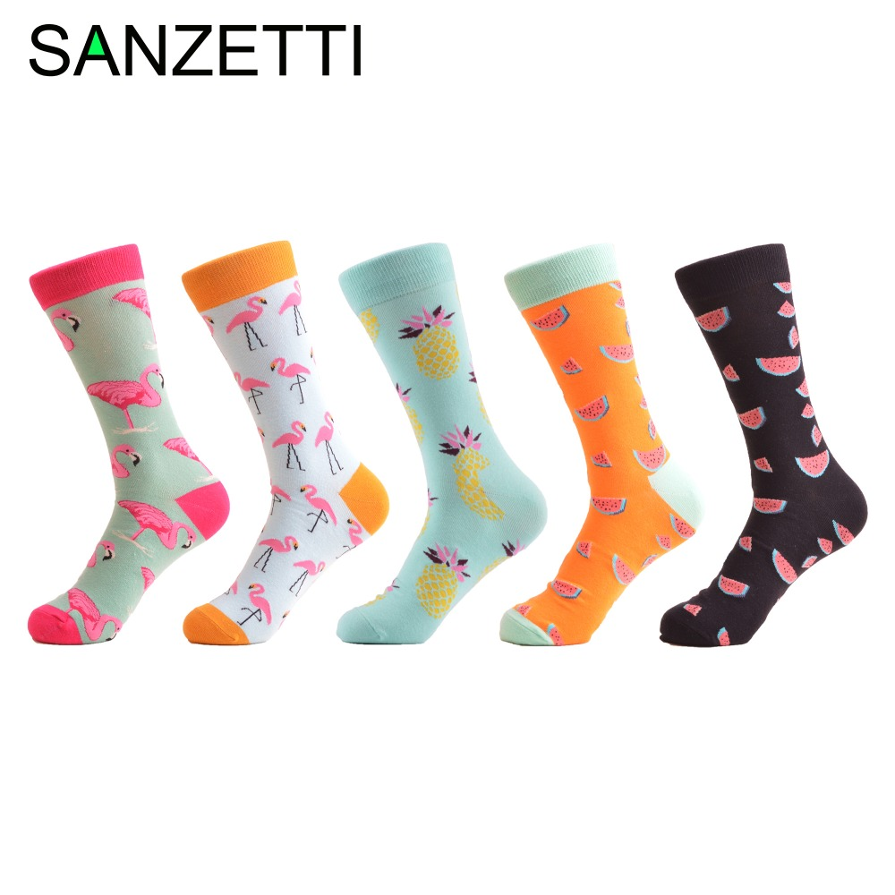SANZETTI 5 pair/lot New Combed Cotton Funny Mens Street wear Flamingos Fruit Pattern Casual Mid-calf Dress Socks for Wedding