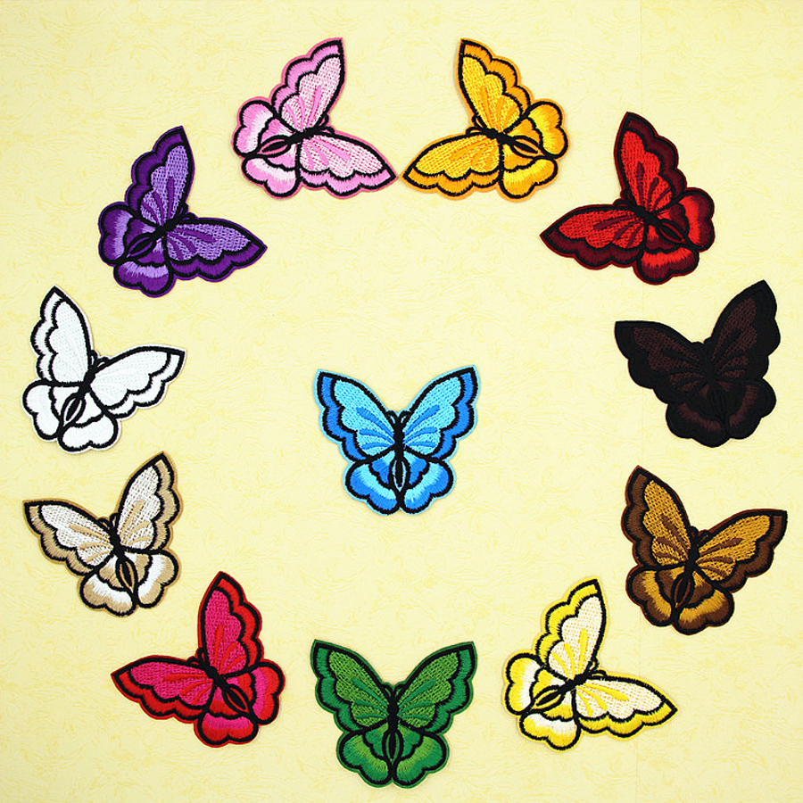 10Pcs/Lot Colorful Mixed Butterfly Patches Iron on or Sew Fabric Sticker for Clothes Embroidered Appliques DIY Accessory BT121
