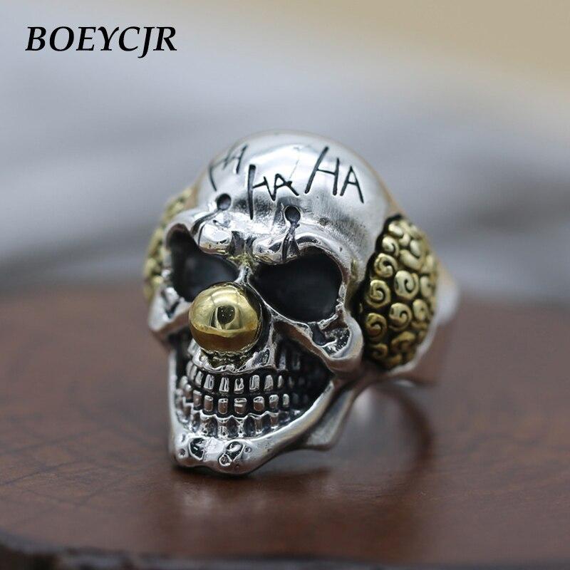 BOEYCJR S925 argent Sterling rétro Punk Clown Sull anneaux bijoux fins Vintage réglable anneaux pour hommes cadeau anillo anneau