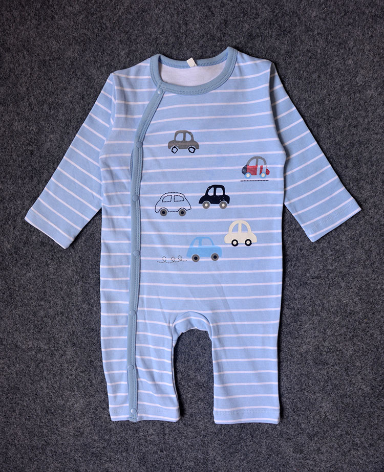 2017 Infant Newborn Baby Clothing Girls Boys Rompers Jumpsuit Car Navy Printed Stripes Toddler Rompers Baby Costumes