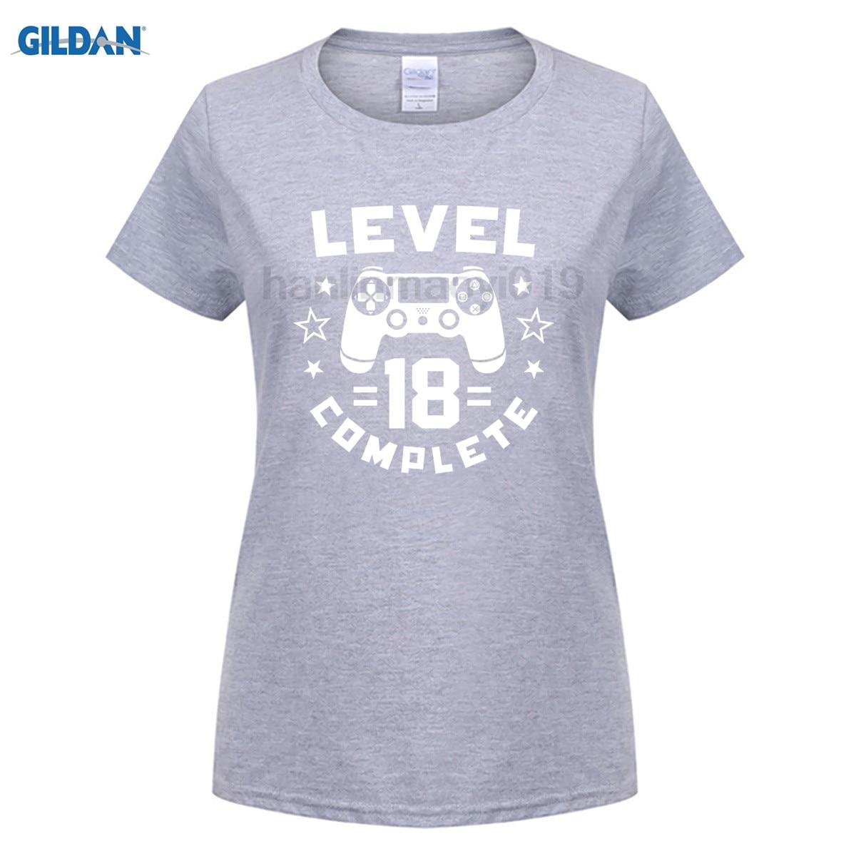 GILDAN Level 18 Complete Video Gamer Geek Boys 18th Birthday Shirt Latest Fun T-shirt Top Casual Wear