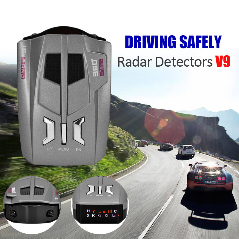 2017 Free shipping 360 Degree Car <font><b>radar</b></font> <font><b>detector</b></font> V9 16 Band Scanning LED <font><b>Radar</b></font> <font><b>Detector</b></font> Car Speed Testing System english/Russia