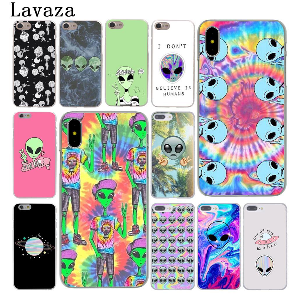 Lavaza Trippy Alien emoji Hard Case Shell for Apple iPhone 6 6s 7 8 Plus 4 4S 5 5S SE 5C for