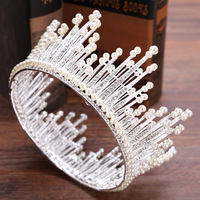 Big Tiara Pearl Bridal Crown Hair Jewelry Bridal Tiaras Wedding Hair Accessories Gold And Silver Pageant Crowns For Women Gift