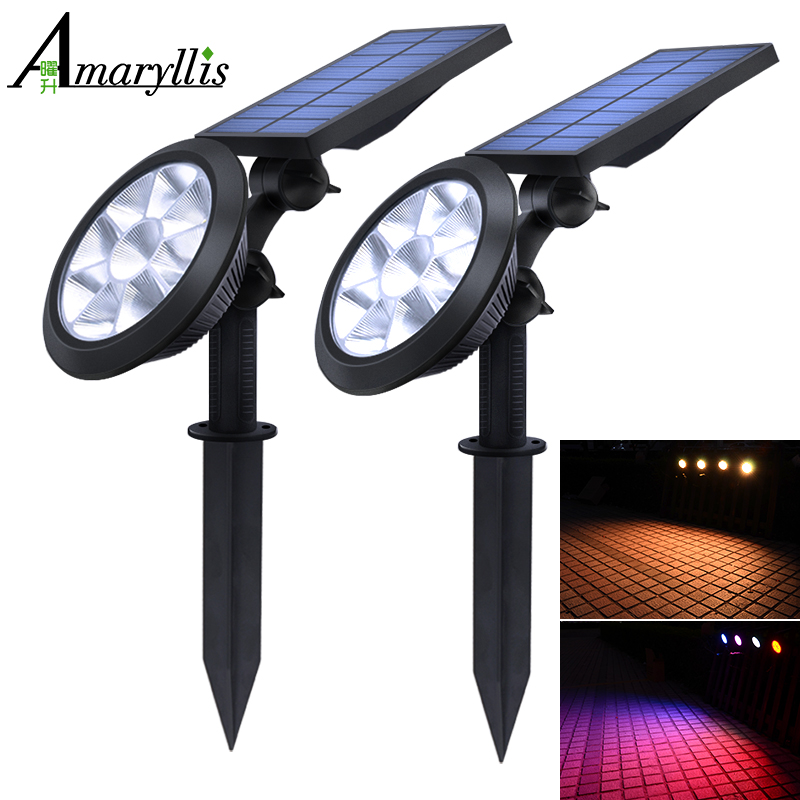 Upgraded Solar Spotlights Waterproof Adjustable 9 LED Wall/Landscape Solar Lights Colorful Solar Lamp For Yard Lawn Garden