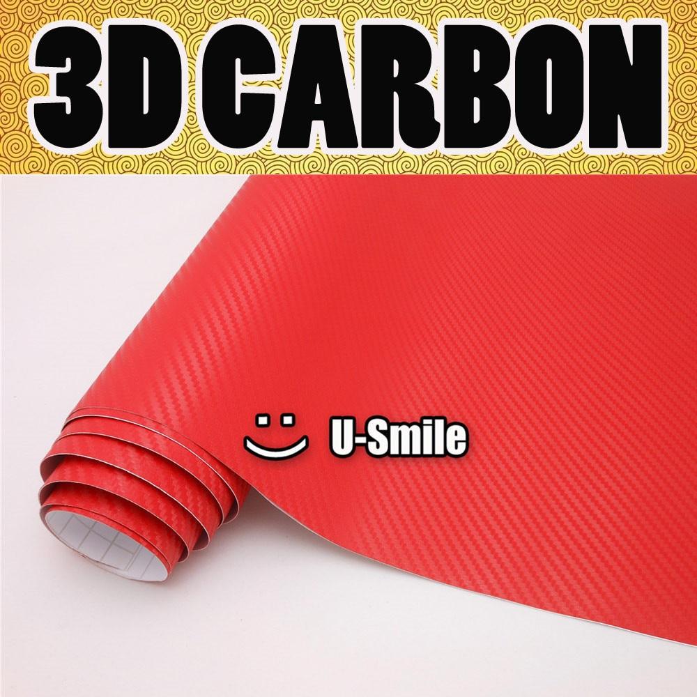 Premium Red 3D Carbon Fiber Vinyl Wrap 3D Red Carbon Fiber Film Sheet Air Release Car Wrapping Size:1.52X30M/Roll