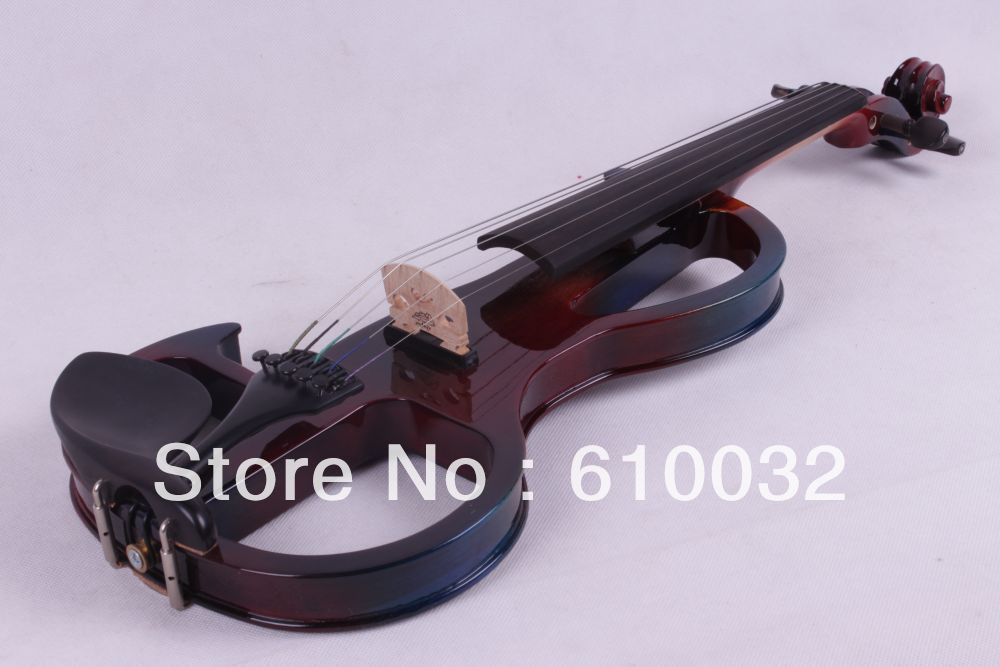 color  4/4 5 String Electric Violin Solid wood hand style 2-5 # more   color handmade new solid maple wood brown acoustic violin violino 4 4 electric violin case bow included