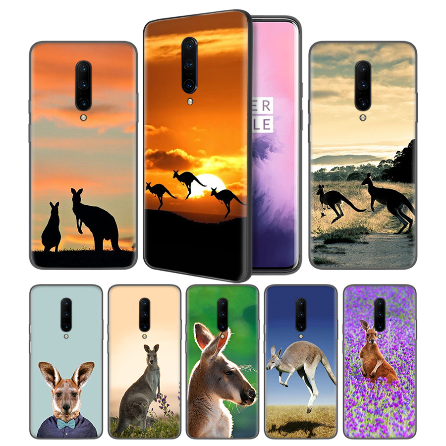 Animal kangaroo Soft Black Silicone Case Cover for font b OnePlus b font 6 6T font