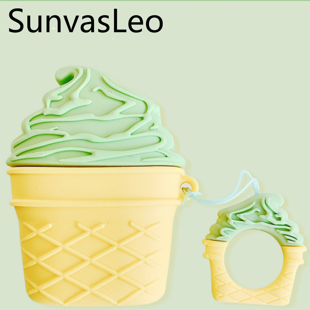 3D Cute Summer Ice Cream Cartoon Soft Silicone Protective Cover For Apple Airpods Wireless Bluetooth EarPhones Headphone in Phone Pouches from Cellphones Telecommunications