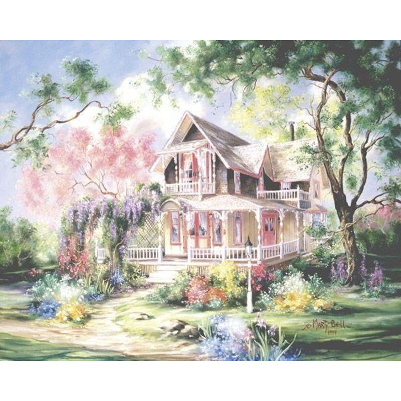 ArtSailing Pictures By Numbers Diy Kit Meteor Garden House Paintings By Numbers On Canvas Paints 2018 New Drop Shipping NP-256
