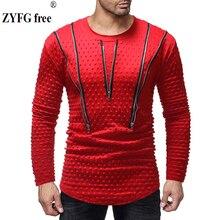 Plus size Men's Solid T-shirt Spring summer Period Long Sleeve t shirts O-neck Cotton Polyester t-shirt Men Zipper decoration недорого