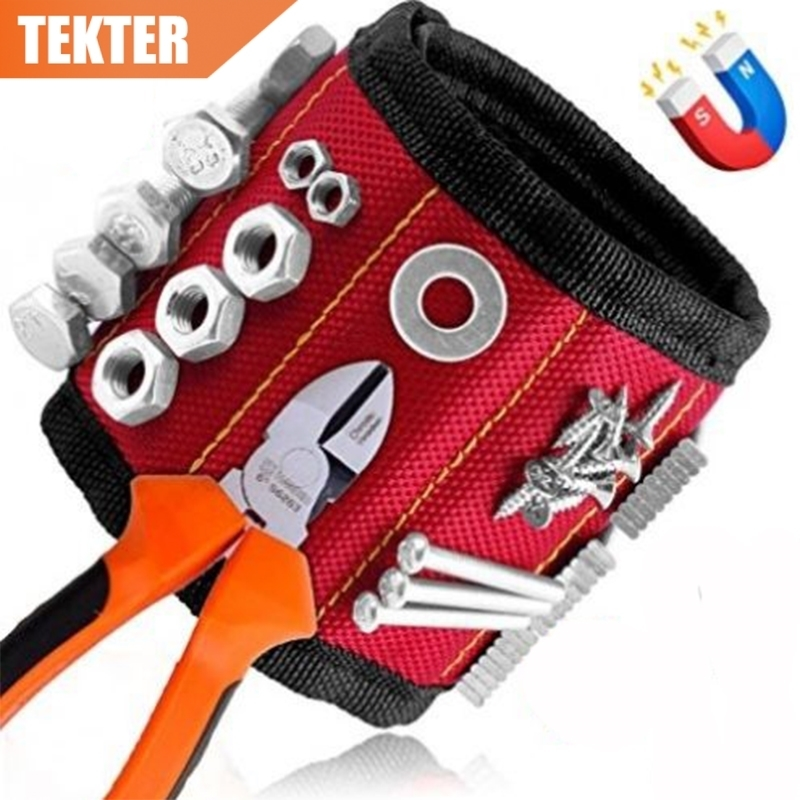 TEKTER 5 Strong Magnetic Wristband Bracelet Belt Strap Handsfree Holds Nails Screws Bits Adjustable Repair Tool Bag Pocket Pouch