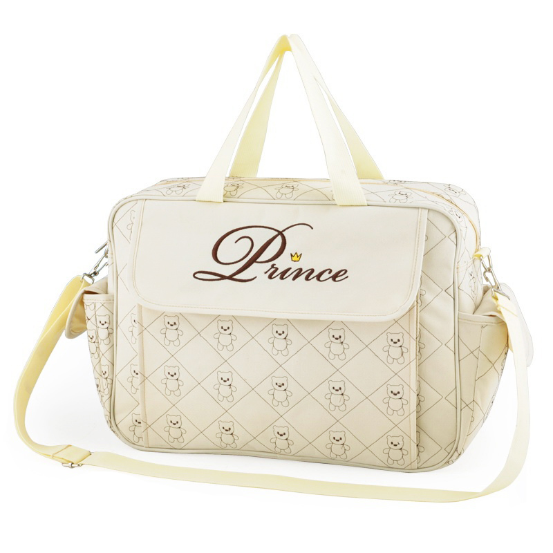 insular Classic Waterproof Nylon Baby Diaper Bag Stylish Mommy Bag Changing Bag Beige
