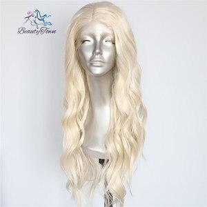 Image 1 - Красивые светлые бежевые натуральные волнистые термостойкие волосы BeautyTown для женщин, ежедневный макияж, Свадебная вечеринка, подарок, синтетические кружевные передние парики