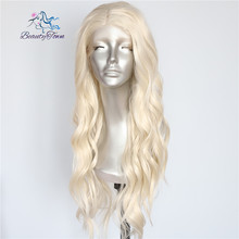 BeautyTown Blonde Beige Natural Water Wave Heat Resistant Hair Women Daily Makeup Wedding Party Gift Synthetic Lace Front Wigs