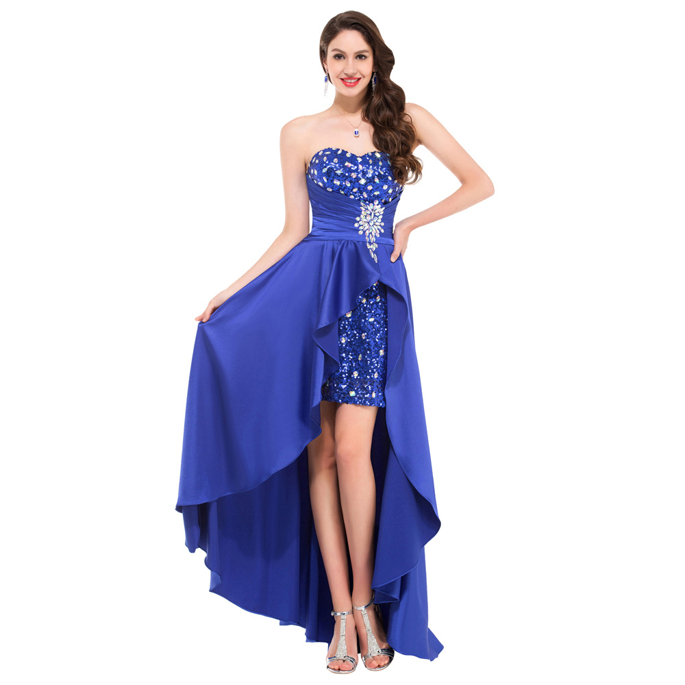 robe de soiree long short front long back evening dresses abendkleider 2016 royal blue formal. Black Bedroom Furniture Sets. Home Design Ideas