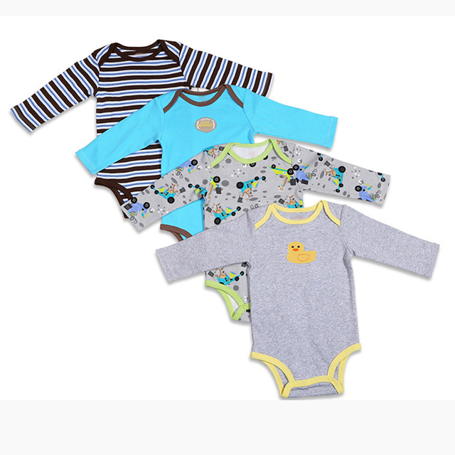 3\4\5PCS 2017  BABY BODYSUITS 100%Cotton Infant Body Bebes Long Sleeve Clothing Jumpsuit Printed Baby Boy Girl Bodysuits