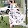 2016 novo estilo verão mulheres bohemia beach dress algodão borboleta de seda spaghetti strap completa dress férias inferior one-piece dress
