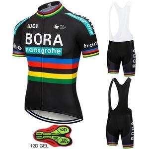 hansgrohe Cycling Jersey 12D GEL Pad Bike Shorts Set 2018 Pro Team BORA 52e9371a8