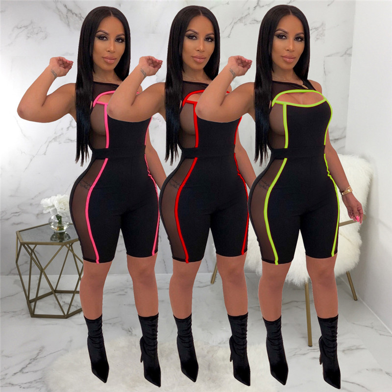 2019 New Sexy Women Sleeveless Mesh Patchwork Jumpsuit See Through Bodysuit One-piece Cut Off Hole Rompers Beach Sports Playsuit