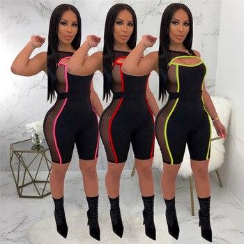 2019 nuevo Sexy mujer tejido de malla retazos sin mangas mono traje con transparencias de una sola pieza cortar monos con agujero deportes de playa Playsuit