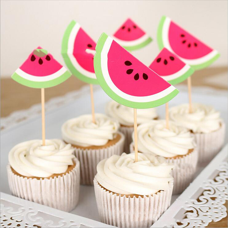 6PC Happy Baby Shower Boys Kids Favors Birthday Party Cute Watermelon Design Events Decoration Cake Cupcake Toppers With Sticks