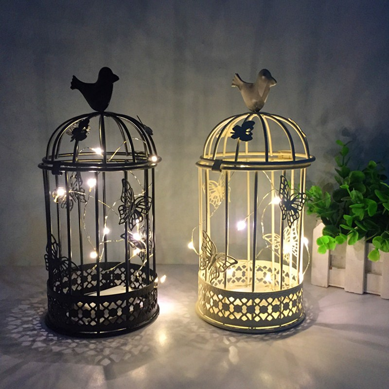 Antique Birdcage Iron Candle Holder Stand for Pillar or Ball Candles Home Decor