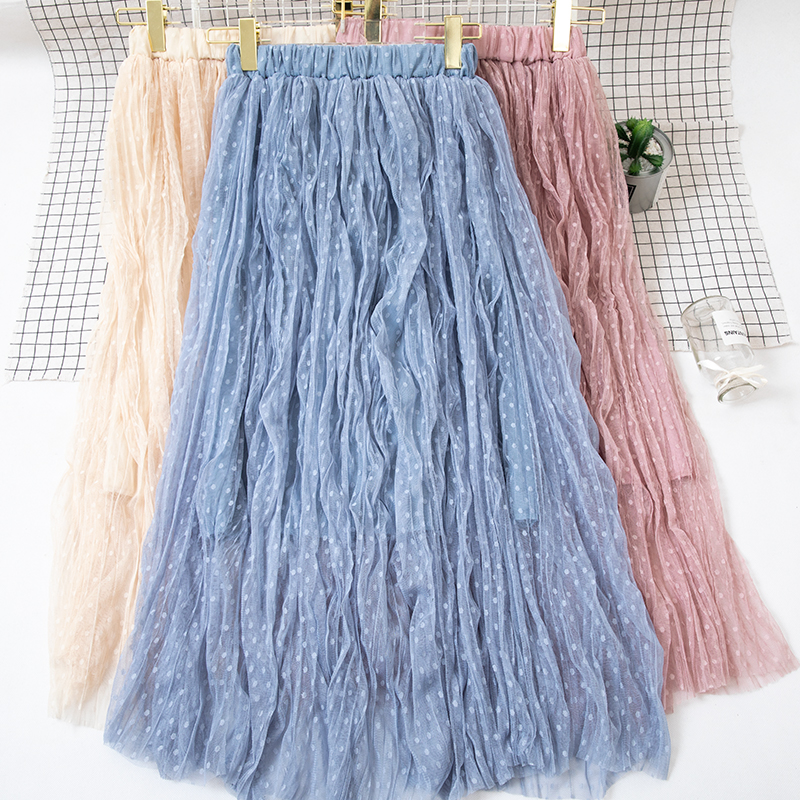 Autumn And Winter Women's Skirt New High Waist Skirt Solid Color Mesh Skirt Female Long Section Loose Thin Folds Skirt Women 1