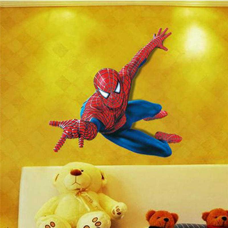 חי 3d ספיידרמן קיר מדבקה לילדים חדר עיצוב הבית קריקטורה דפוס קיר אמנות בני שינה מדבקות סופר גיבור פוסטר