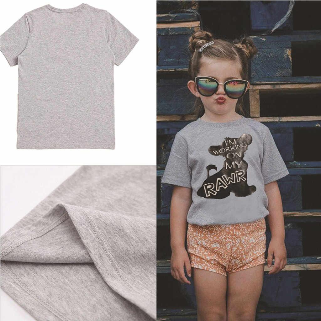 2020 alta calidad niños niña bebé dibujos animados Animal León manga corta Camiseta Tops Tee ropa de verano caída ropa