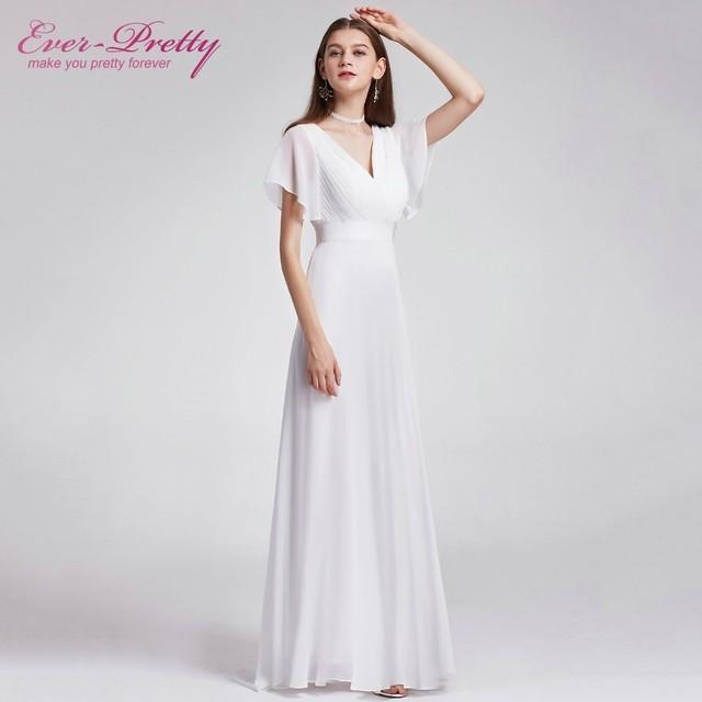 Beach Wedding Dress 2018 V Neck Short Sleeve Elegant Chiffon Long