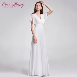 Image 2 - Plusขนาดชายหาดงานแต่งงานชุด 2020 แขนสั้นชีฟองยาวเรียบง่ายMariageงานแต่งงานชุดPretty Vestido De Noiva