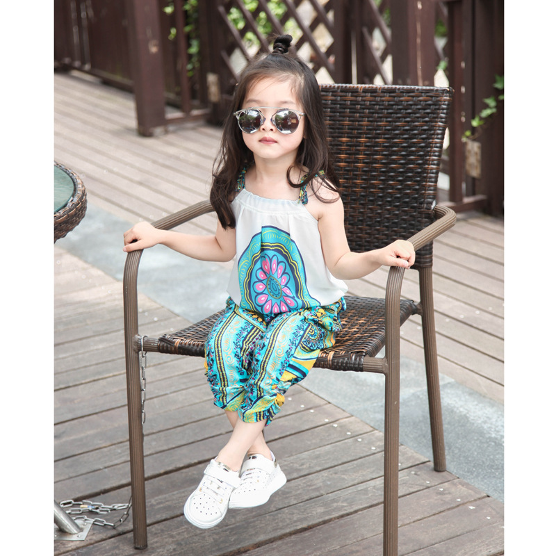 vogue nationwide wind seaside summer season youngsters's youth lady clothes swimsuit chiffon sleeveless shirt + pants 2 piece youngsters's material Clothes Units, Low-cost Clothes Units, vogue nationwide wind seaside...