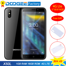 Orijinal DOOGEE 4G-X50 X50L Android 8.1 Smartphone MTK6737 Quad Core 5.0