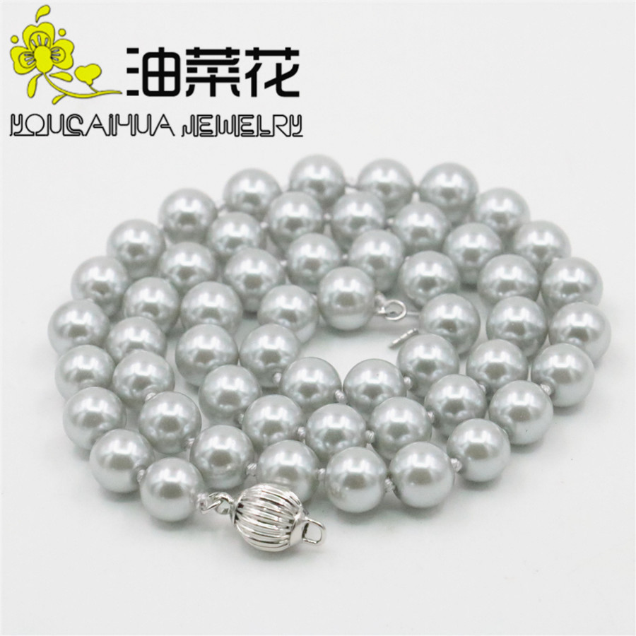 Wholesale New Rare 8mm Silver Gray Pearl Shell Necklace Gifts for Girls Women Hand Made Fashion Jewelry Making Design AAA 18inch