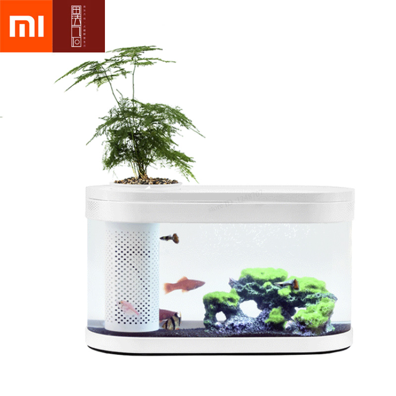 Xiaomi Mijia HFJH Filter Fish Tank PMMA Plastic Desktop Aquarium Fish Bowl with Water Filtration LED