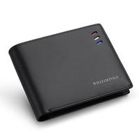 WILLIAMPOLO Men's Slim Wallet Genuine Leather Mini Purse Casual Design Wallet Fashion Brand Short Small Pouch Gift
