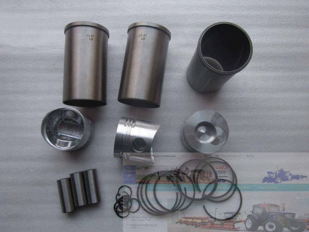 Laidong the KM385BT set of piston group, including the piston, piston rings, cylinder liners and piston pin and circlips fengshou mahindra 254 with il316di direct chamber 385 set of piston piston rings piston pin circlip and cylinder liners