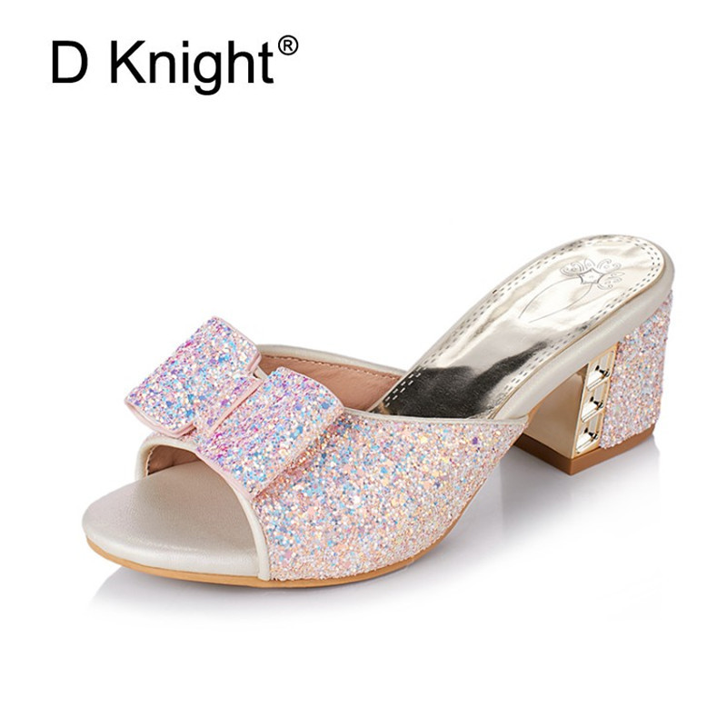 Big Size 32-42 Women Sandals 2018 Bling Bow Slides Ladies Summer Slippers Shoes Women High Heels Sandals Fashion Glitter Sandals