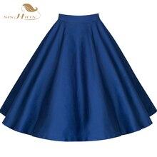 Sishion, модная, винтажная, 50 s, 60 s, ретро Свинг, рокабилли, юбка, летняя, высокая талия, XXL, с принтом, в горошек, с цветочным рисунком, юбка, летняя, faldas VD0020F