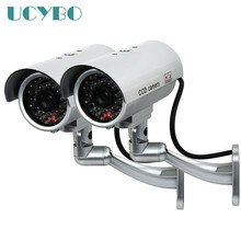 2pcs fake camera dummy outdoor waterproof IR Red LED flash bullet Emulational security surveillance wireless dummy camera