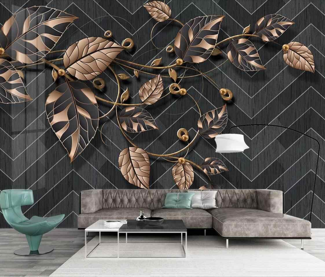 北欧花壁画植物葉壁紙黒背景連絡紙 3d 壁紙アートウォールペーパー