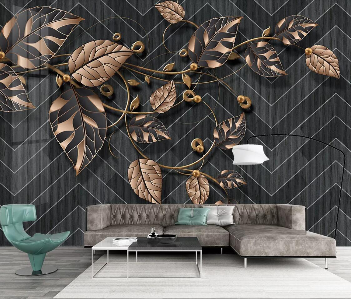 Nordic Flower Murals Plant Leaves Wallpaper Black Background Contact Paper 3D Wallpaper Art Wall Papers Home Decor Custom