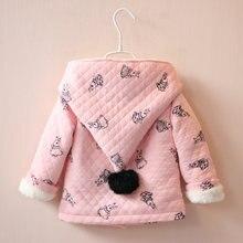 BibiCola New Spring Cute Rabbit Hooded Girls Coat Top Autumn Winter Warm Kids Jacket Outerwear Children Clothing Baby Girl Coats