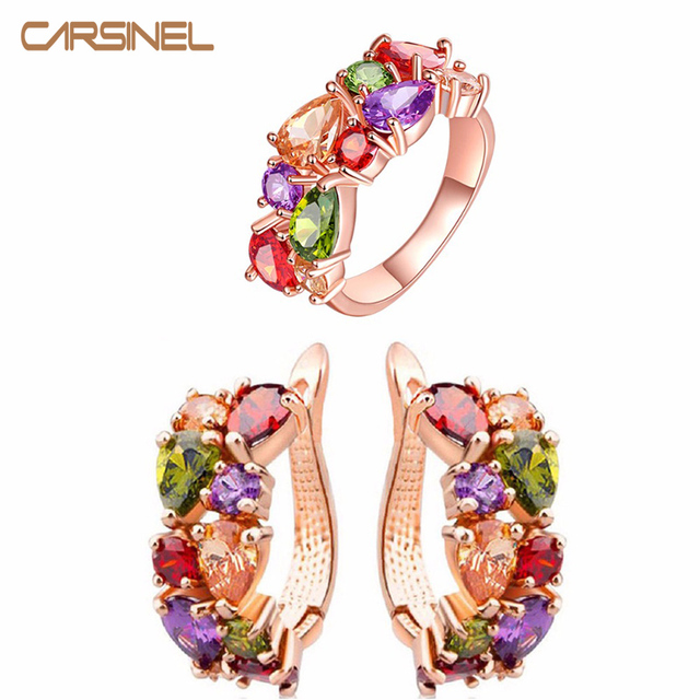 CARSINEL Luxury Colorful Wedding Jewelry Sets Rose Gold-color Earrings&Ring Shin