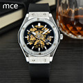 MCE Luxury brand Men Mechanical Hand-Wind Watches Black Silicon Band Hollow Skeleton Mechanical watch Relogio Masculino 2016