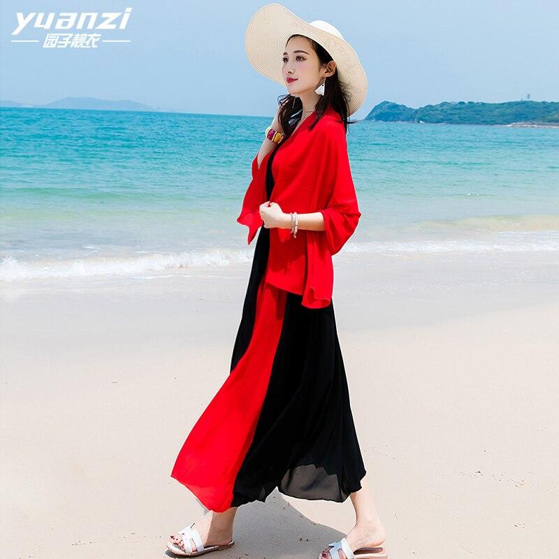 Las Red La Cuello Negro V Maxi Vestido Verano Black Mujeres Rojo Sexy Patchwork Boho Playa Mujer Vestidos Sin Mangas 2018 Gasa De Moda BqSYOY