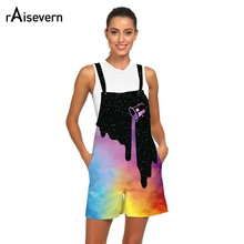 046232f01a4e Raisevern 3D Rompers Print Milk Space Galaxy Jumpsuits Women Casual Overalls  Short Romper Female Playsuits Outfits