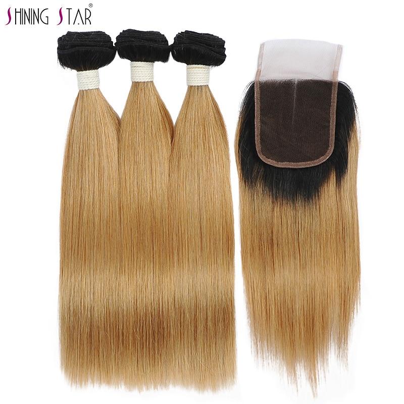 Shiningstar 3 Honey Blonde Bundles With Closure Ombre 1B27 Peruvian Straight Bundles With Closure Human Hair